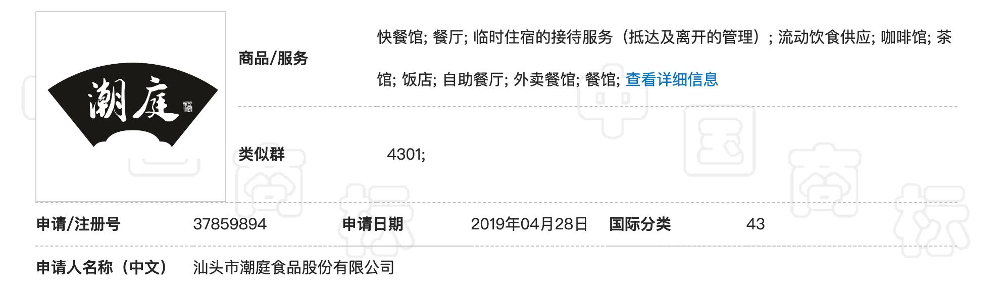 """汕头市潮庭食品 """"潮庭福及图""""驳回复审行政诉讼"""